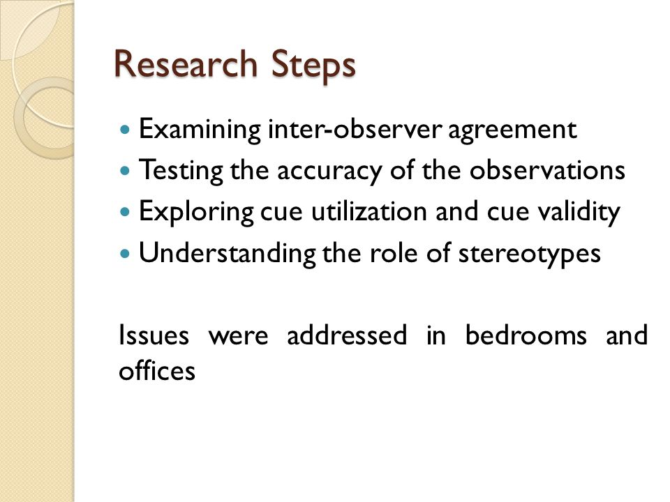Research Steps Examining inter-observer agreement