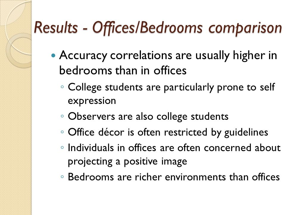 Results - Offices/Bedrooms comparison