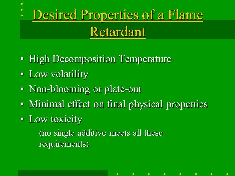 Desired Properties of a Flame Retardant
