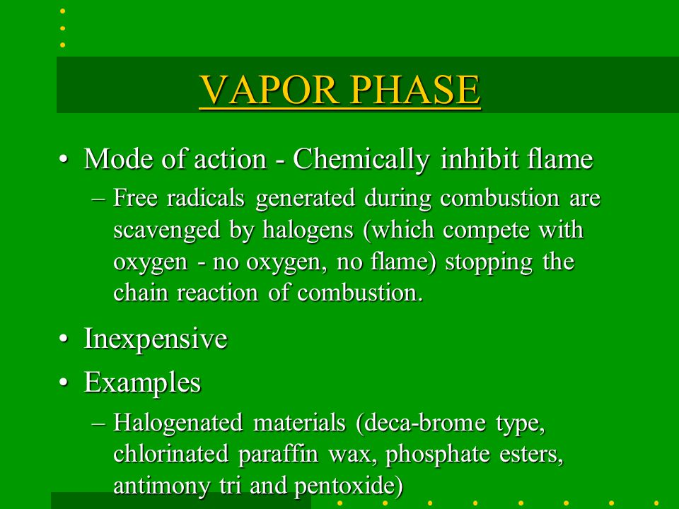 VAPOR PHASE Mode of action - Chemically inhibit flame Inexpensive