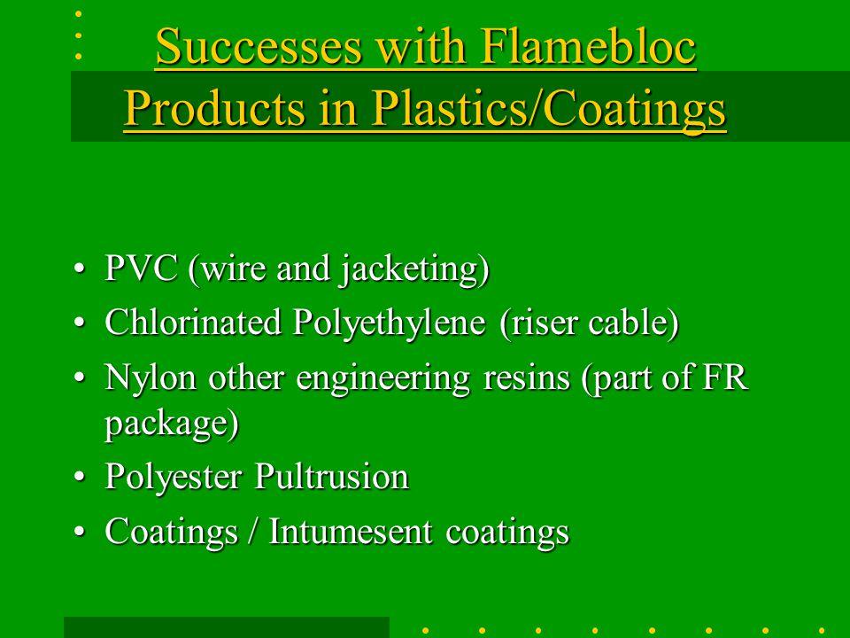Successes with Flamebloc Products in Plastics/Coatings