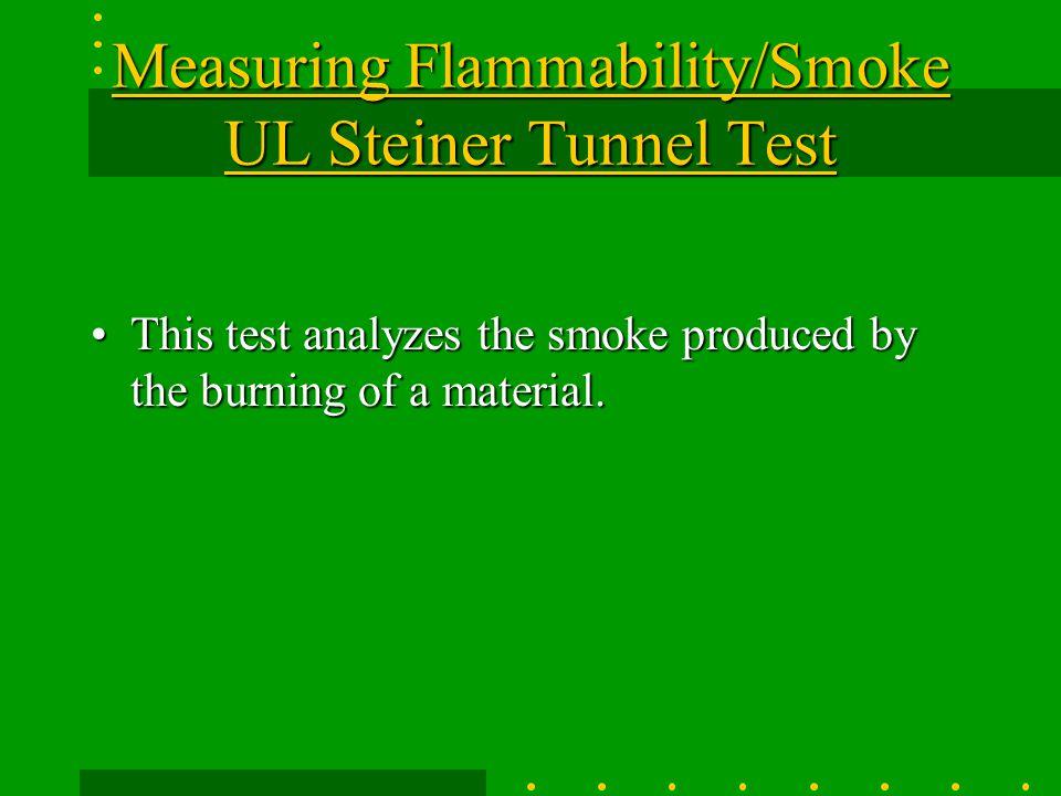 Measuring Flammability/Smoke UL Steiner Tunnel Test