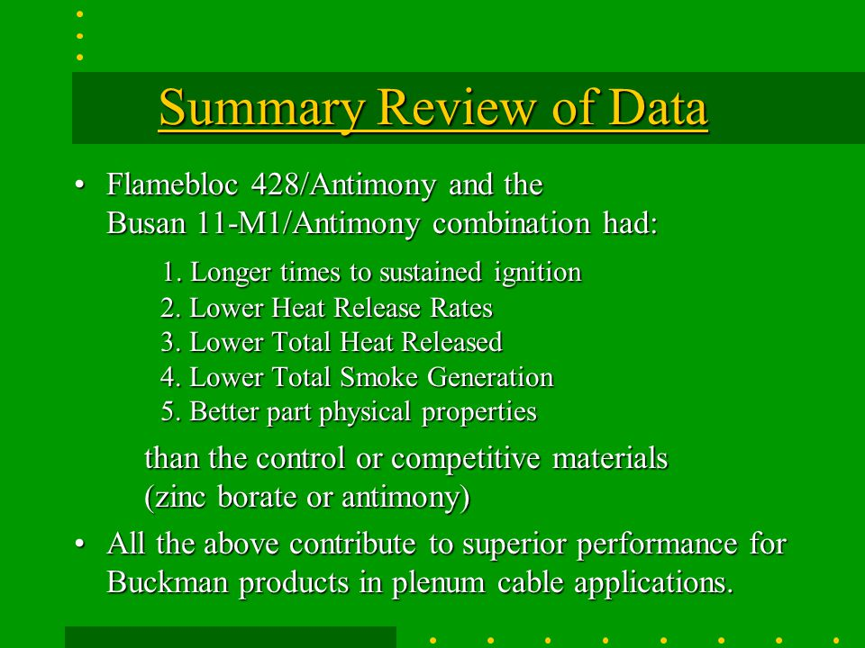 Summary Review of Data Flamebloc 428/Antimony and the Busan 11-M1/Antimony combination had:
