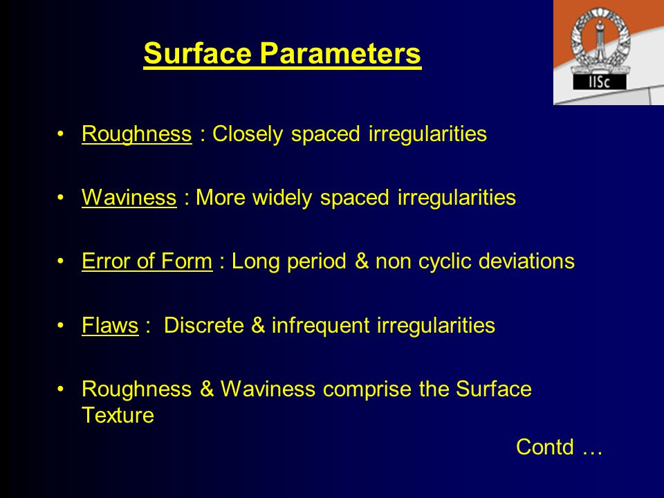 Surface Parameters Roughness : Closely spaced irregularities