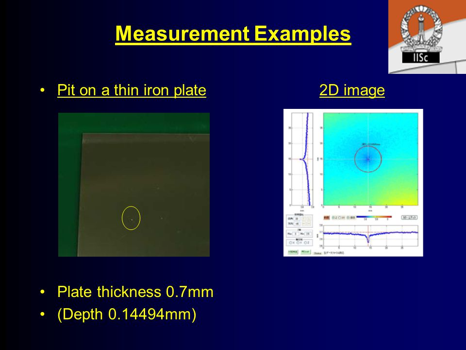 Measurement Examples Pit on a thin iron plate 2D image