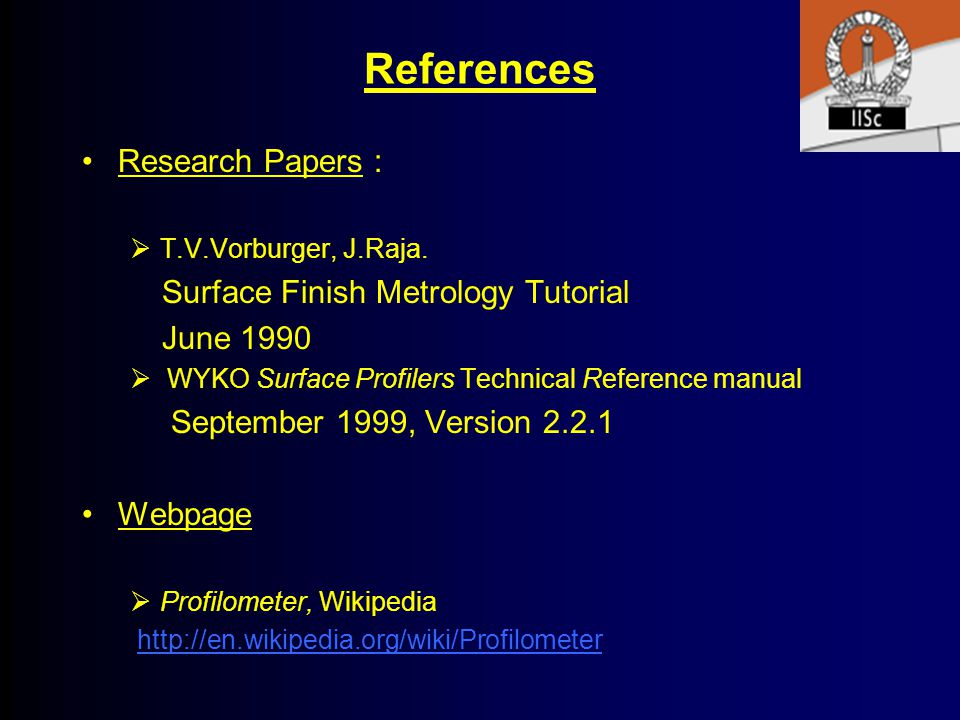 References Research Papers : Surface Finish Metrology Tutorial