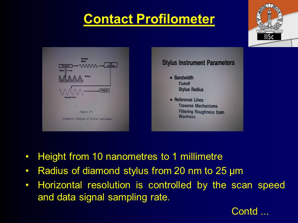 Contact Profilometer Height from 10 nanometres to 1 millimetre