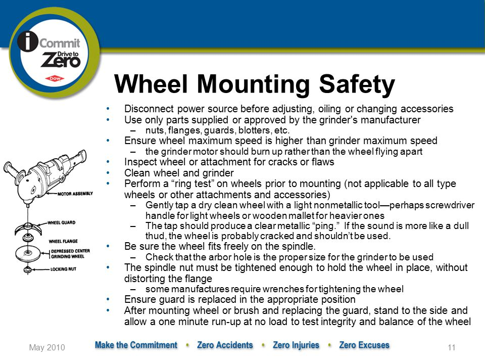 Wheel Mounting Safety Disconnect power source before adjusting, oiling or changing accessories.