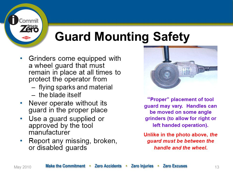 Guard Mounting Safety Grinders come equipped with a wheel guard that must remain in place at all times to protect the operator from.