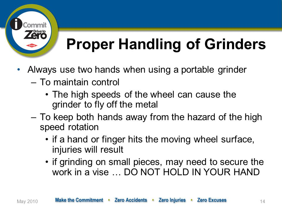 Proper Handling of Grinders