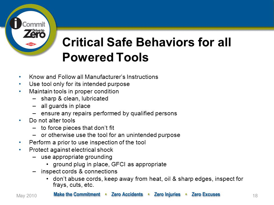 Critical Safe Behaviors for all Powered Tools