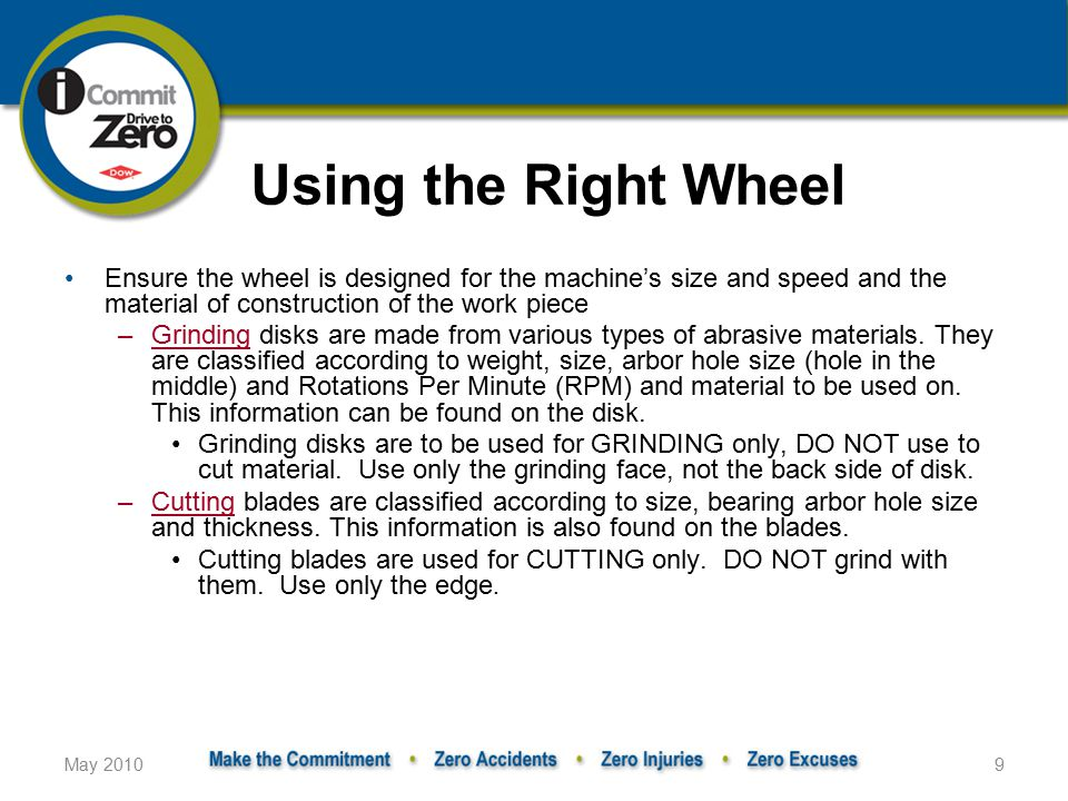 Using the Right Wheel Ensure the wheel is designed for the machine's size and speed and the material of construction of the work piece.
