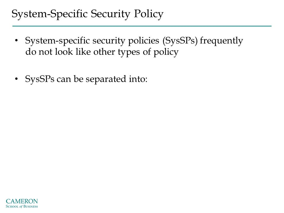 System-Specific Security Policy