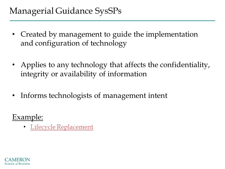Managerial Guidance SysSPs