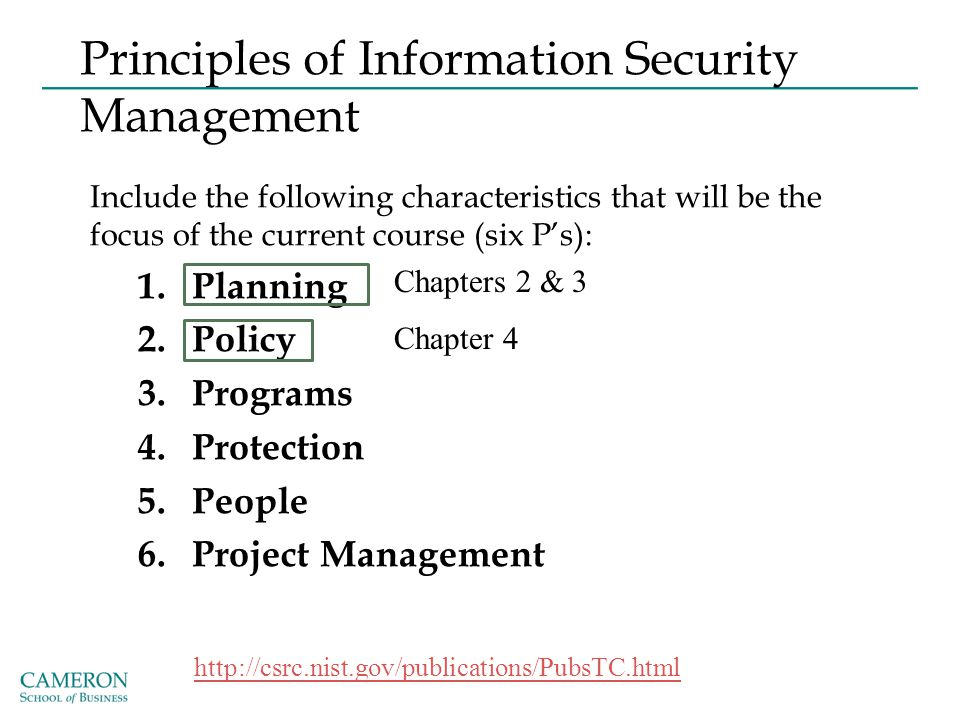Principles of Information Security Management