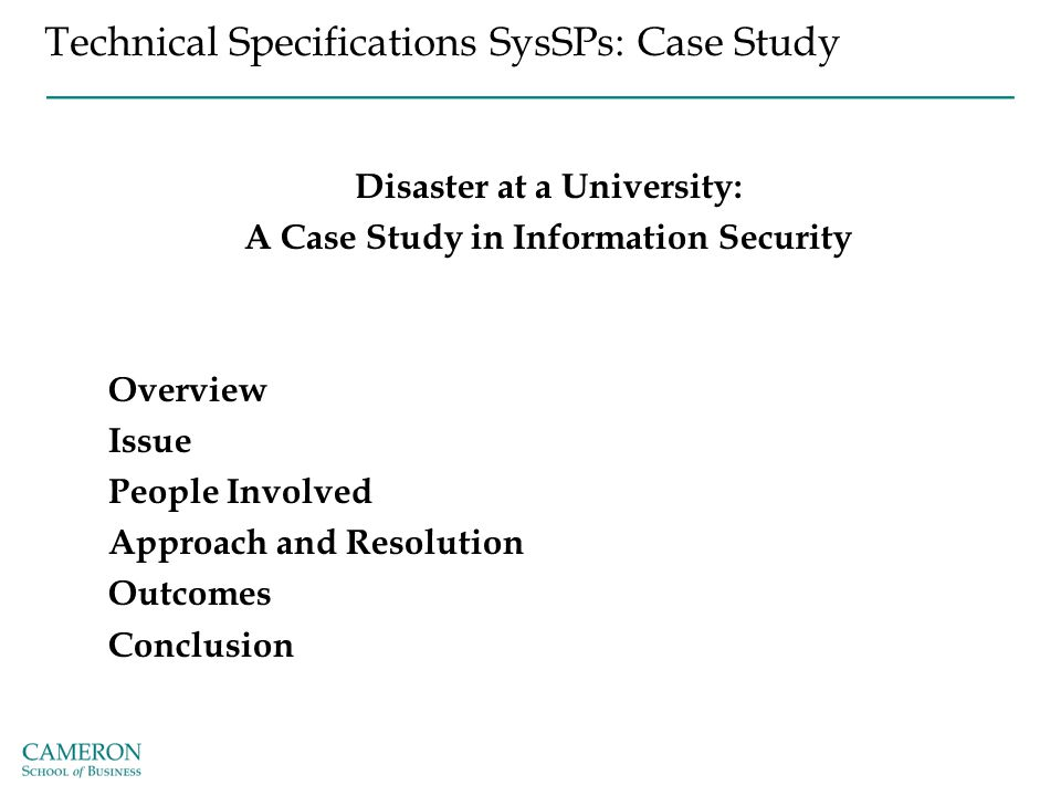 Technical Specifications SysSPs: Case Study