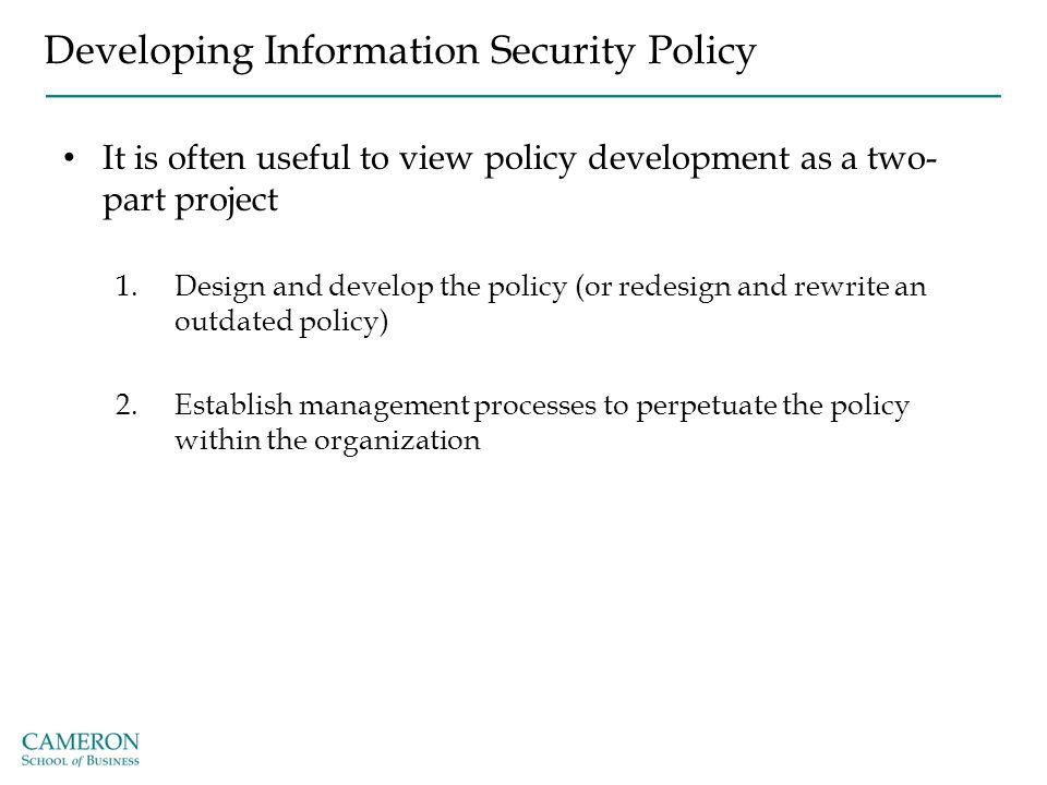 Developing Information Security Policy