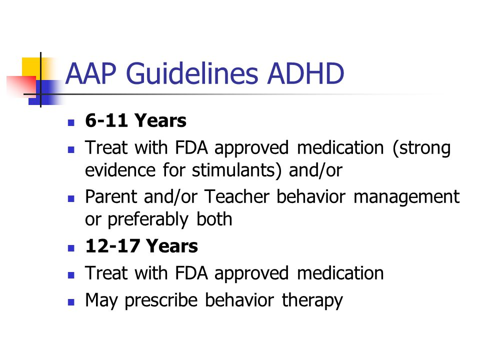 AAP Guidelines ADHD 6-11 Years