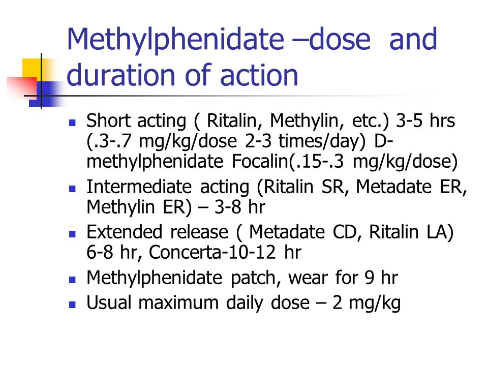 Methylphenidate –dose and duration of action