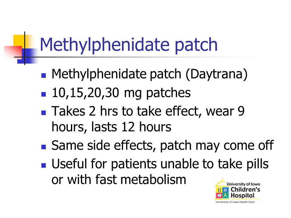 Methylphenidate patch