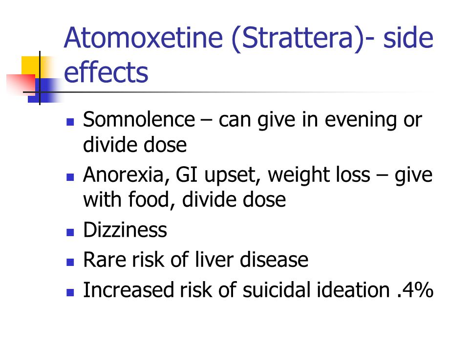 Atomoxetine (Strattera)- side effects