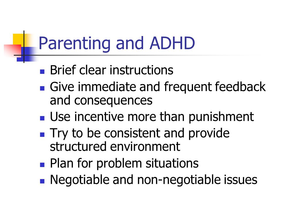 Parenting and ADHD Brief clear instructions