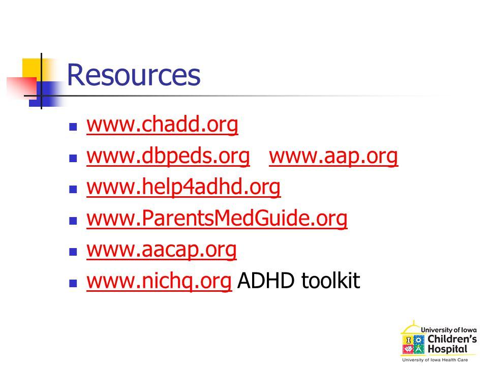 Resources www.chadd.org www.dbpeds.org www.aap.org www.help4adhd.org