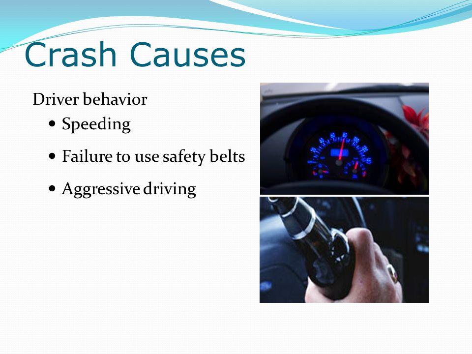 Crash Causes Driver behavior Speeding Failure to use safety belts
