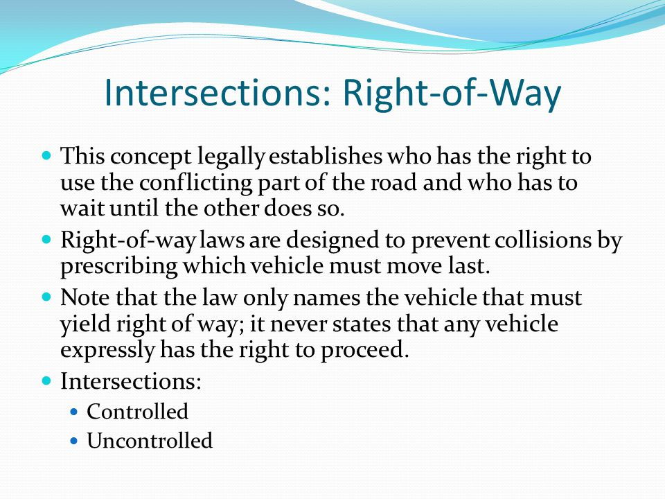 Intersections: Right-of-Way