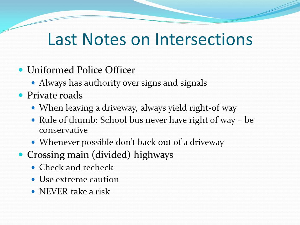 Last Notes on Intersections