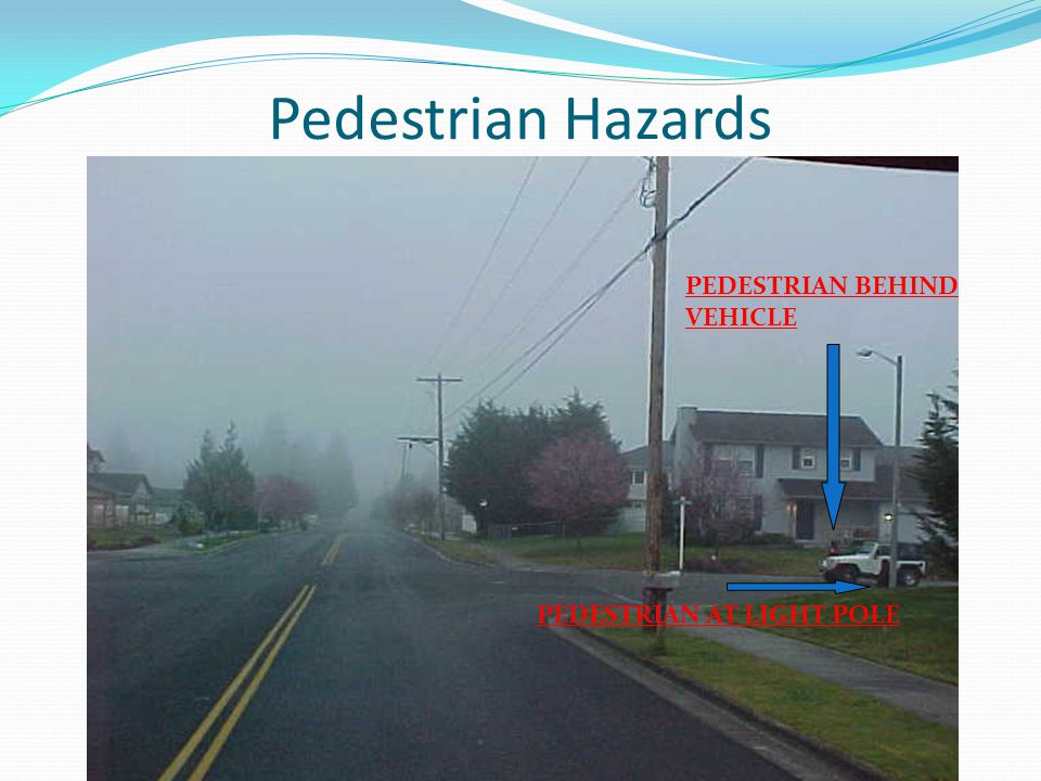 Pedestrian Hazards PEDESTRIAN BEHIND VEHICLE PEDESTRIAN AT LIGHT POLE