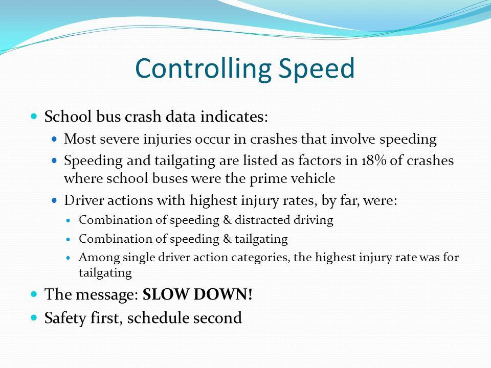 Controlling Speed School bus crash data indicates: