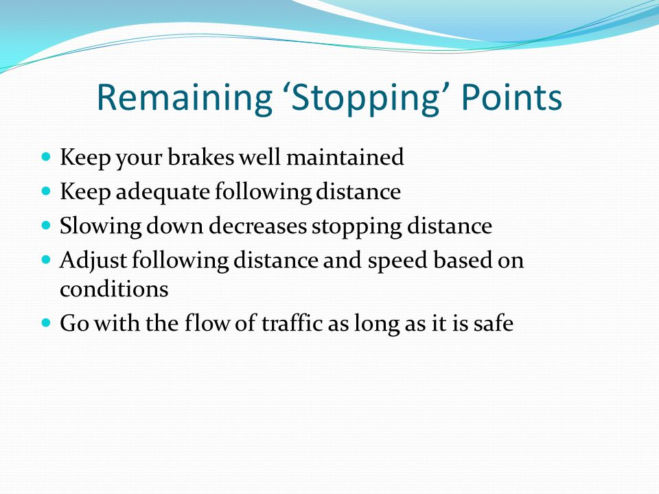 Remaining 'Stopping' Points