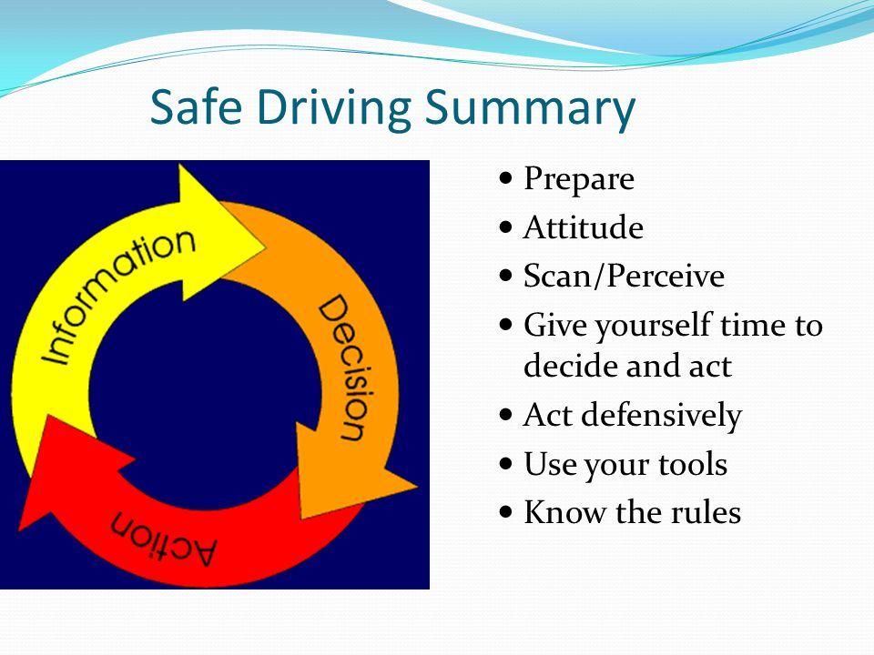 Safe Driving Summary Prepare Attitude Scan/Perceive