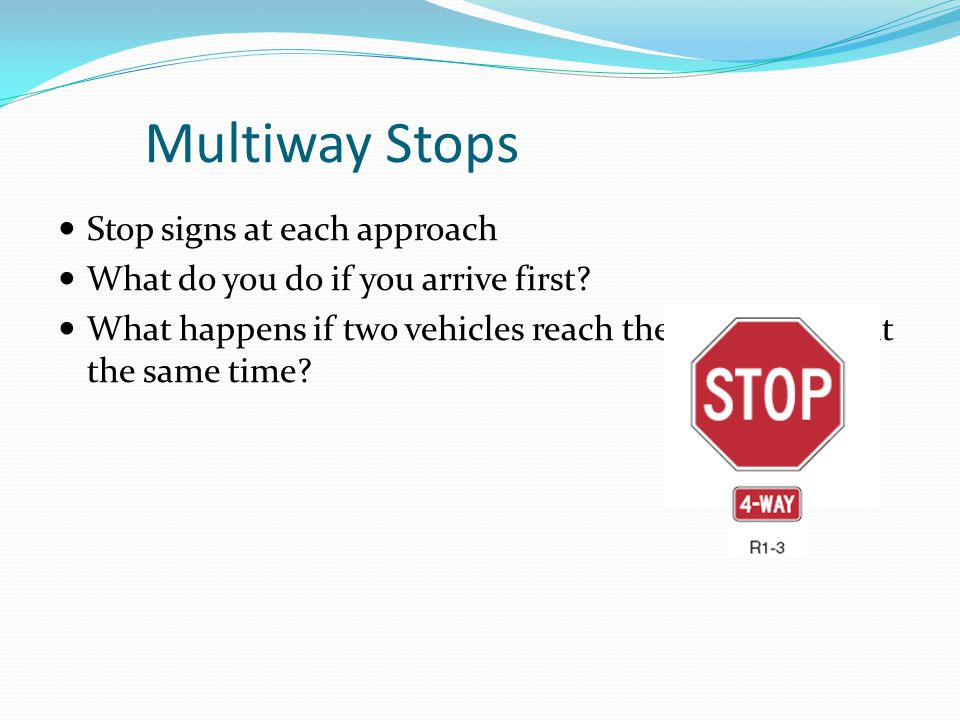 Multiway Stops Stop signs at each approach