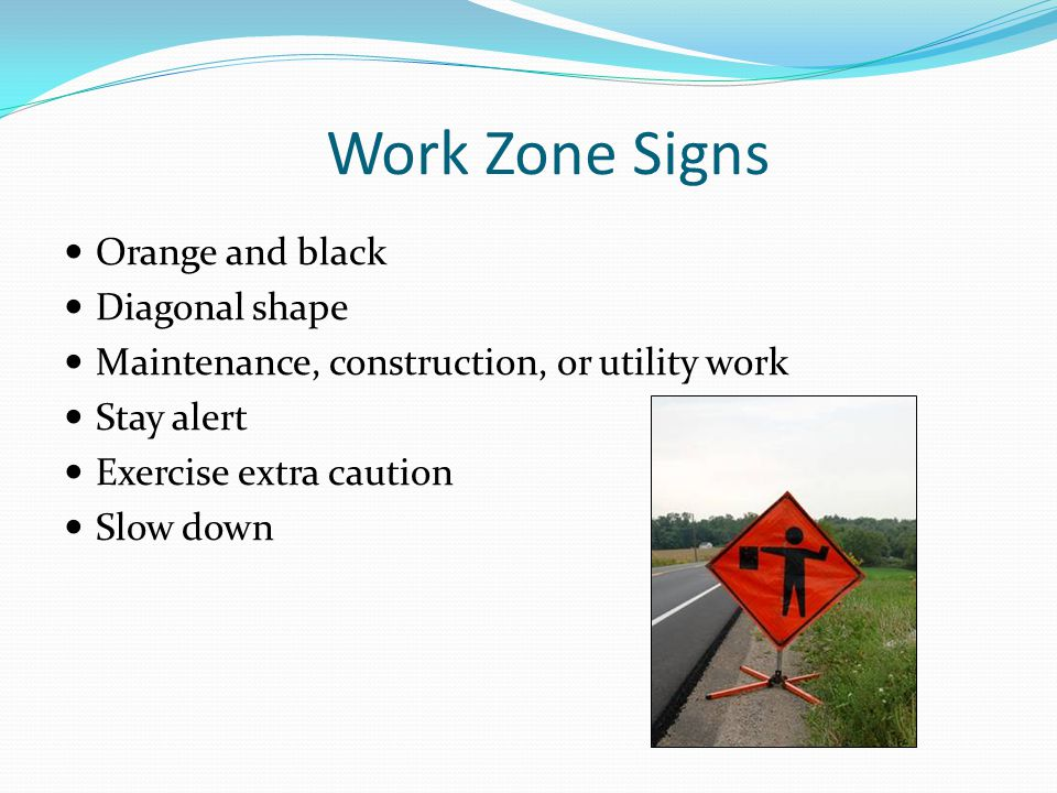 Work Zone Signs Orange and black Diagonal shape