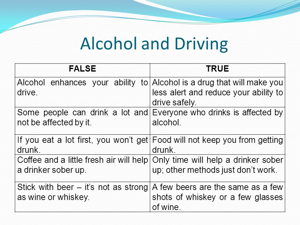 Alcohol and Driving FALSE TRUE Alcohol enhances your ability to drive.