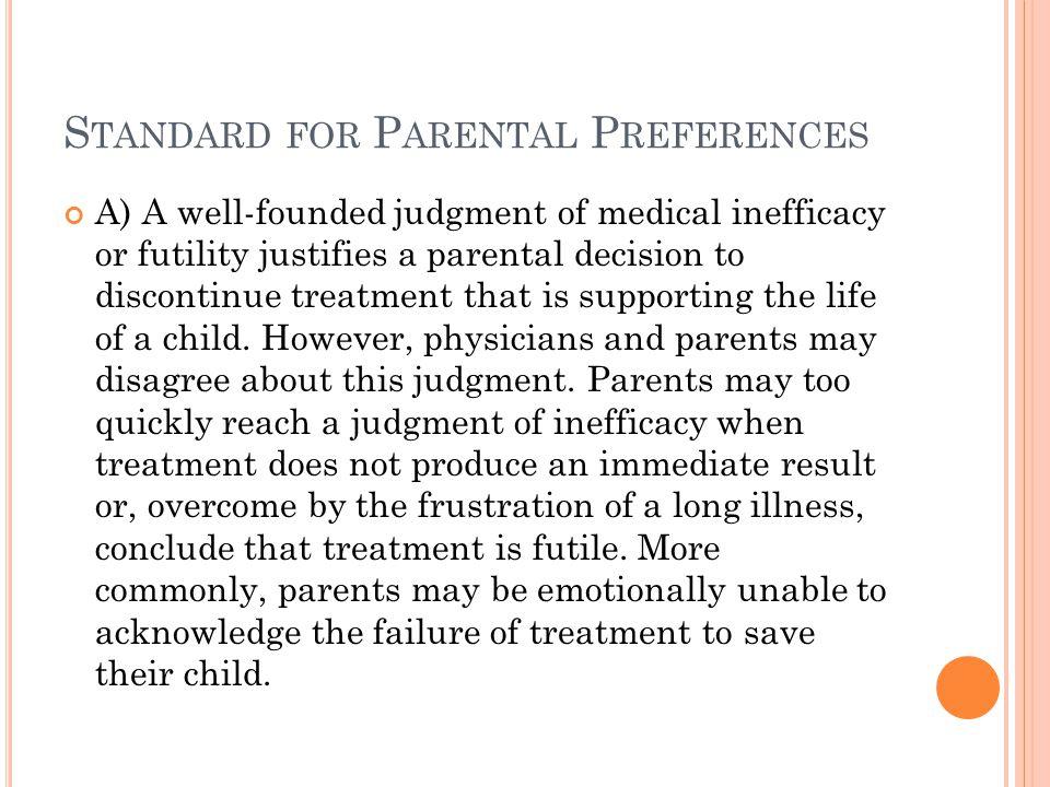 Standard for Parental Preferences