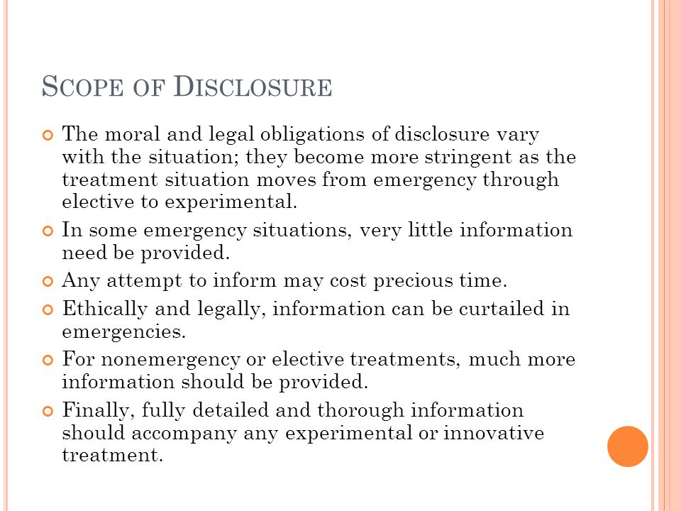 Scope of Disclosure