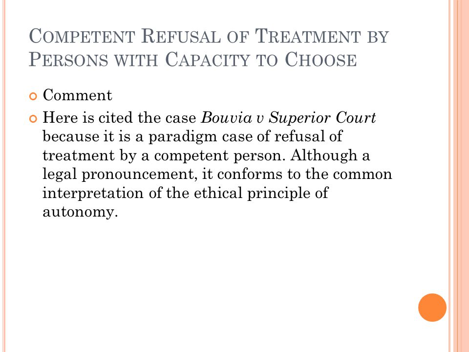 Competent Refusal of Treatment by Persons with Capacity to Choose