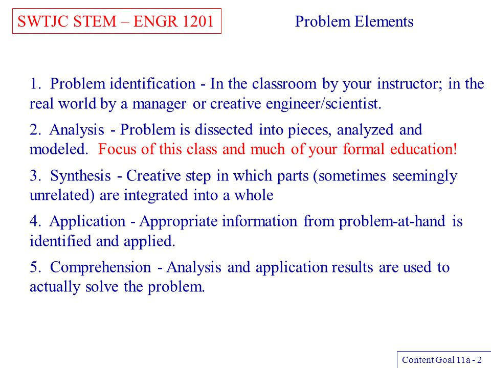 SWTJC STEM – ENGR 1201 Problem Elements