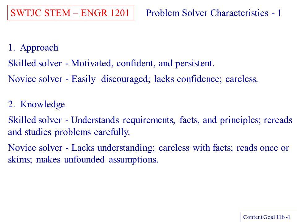 Problem Solver Characteristics - 1