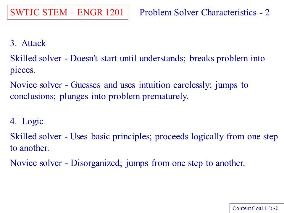 Problem Solver Characteristics - 2