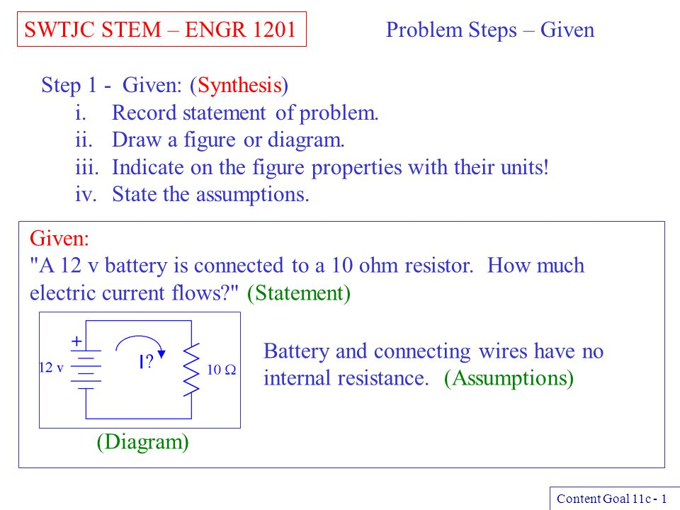 Step 1 - Given: (Synthesis) Record statement of problem.