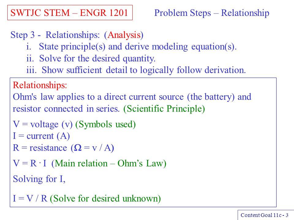 Problem Steps – Relationship