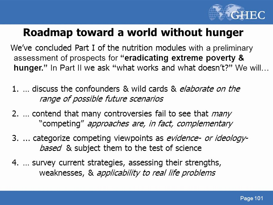 Roadmap toward a world without hunger