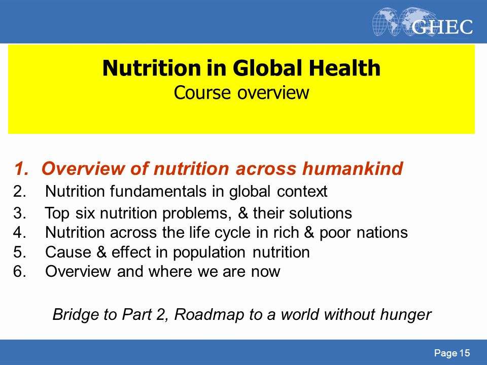 Nutrition in Global Health Course overview