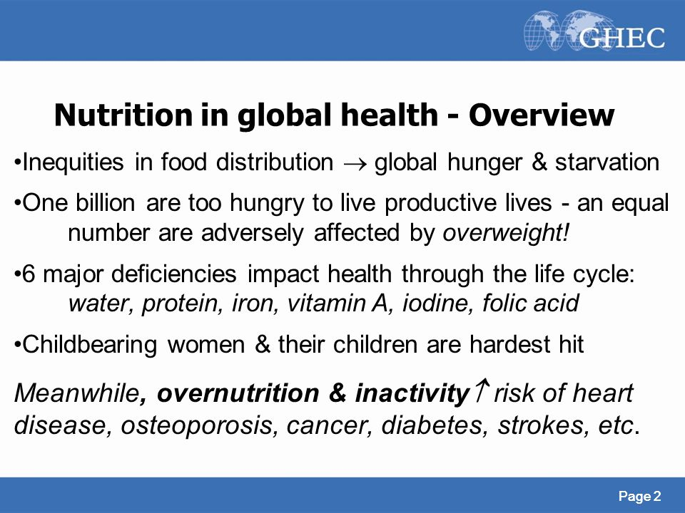 Nutrition in global health - Overview
