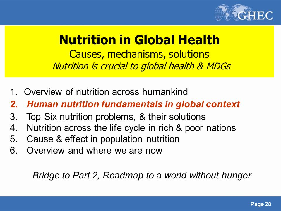 Bridge to Part 2, Roadmap to a world without hunger