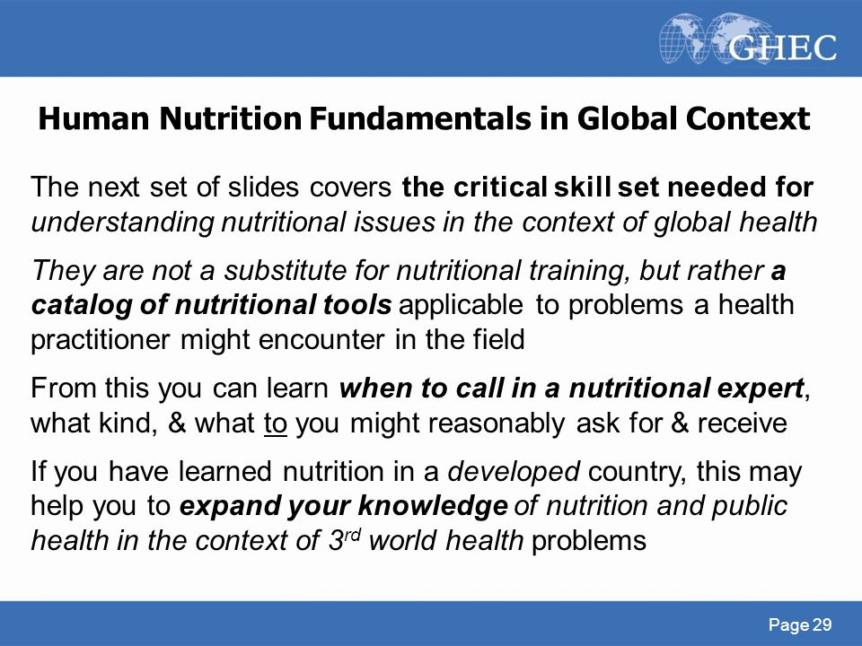 Human Nutrition Fundamentals in Global Context